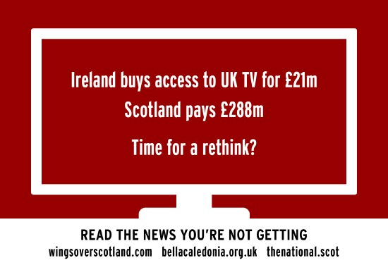 ireland gets bbc for �22m. scotland pays �288m. time to rethink.