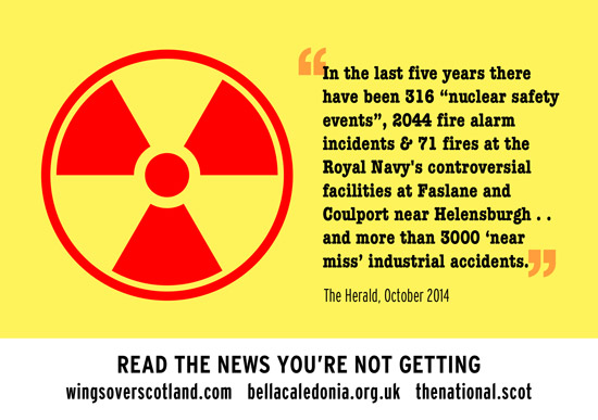 faslane: 316 nuclear safet incidents, 2044 fire alarm incidents, and 71 fires in 5 years