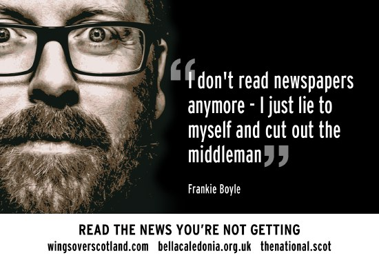 frankie boyle - i don't read the papers any more. i just lie to myself and cut out middleman