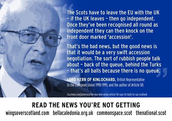 lord kerr - scotland's accession to eu would be swift, and the eu queue is 'balls'