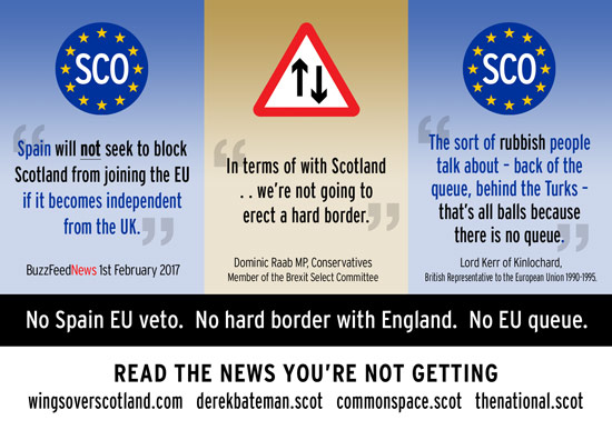 no spain eu veto. no hard border with england. no eu queue.