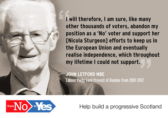 john letford, former lord provost of dundee - from no to yes