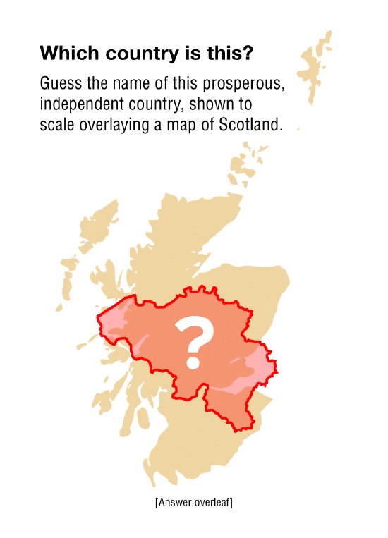 belgium - 1/3rd the size of scotland, independent since 1830