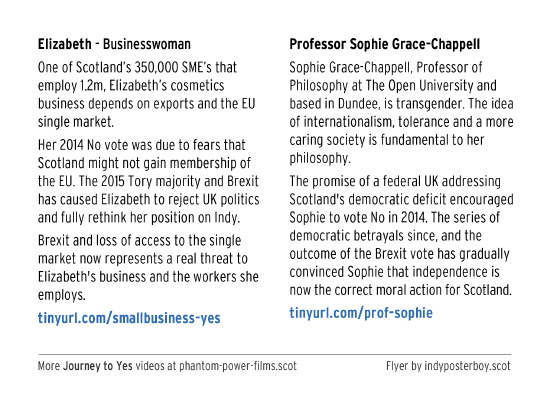 business elizabeth, and professor sophie grace-chappell, explain why they now support yes