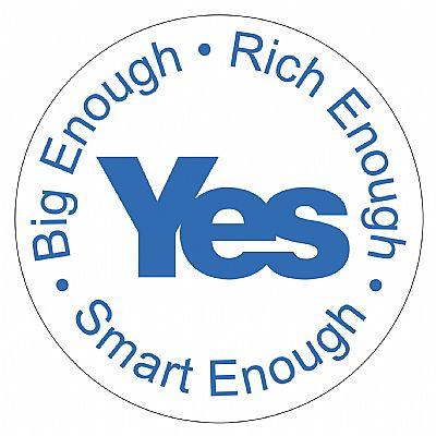 big enough - rich enough - smart enough - roundel, blue text on white