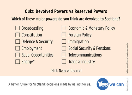 devolution qui: which of these powers do you think are devolved to scotland? hint. none of them are.
