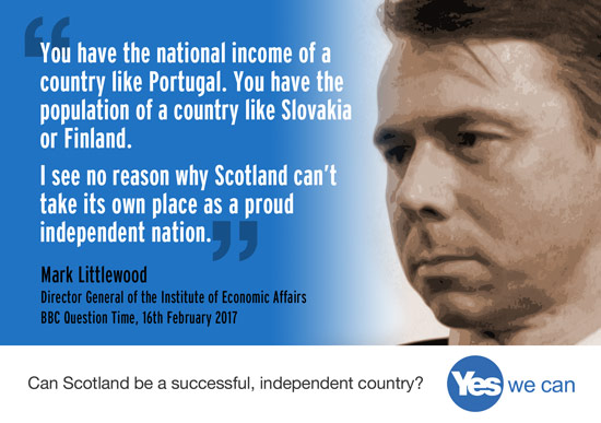 i see no reason why scotland can't take its own place as a proud independent nation.