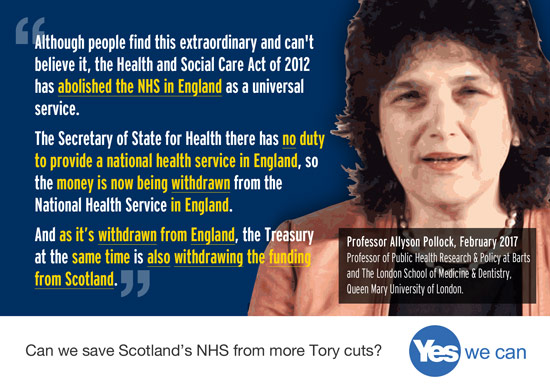 as england's nhs is cut and privatised it has a direct impact on funding of the already separate nhs scotland