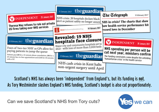 tory westminster controls scotland budget. can we save nhs scotland from tory cuts? yes, we can.