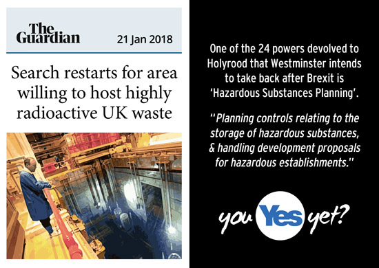 westminster power grab is taking back power to control haardous material, even as they look for somewhere to dump waste