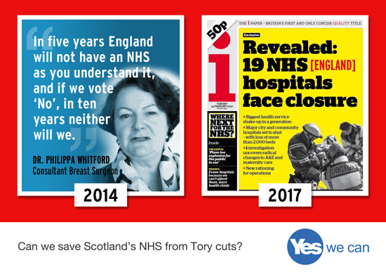she tried to tell you. the nhs in england is being sold off. yes can save nhs scotland.