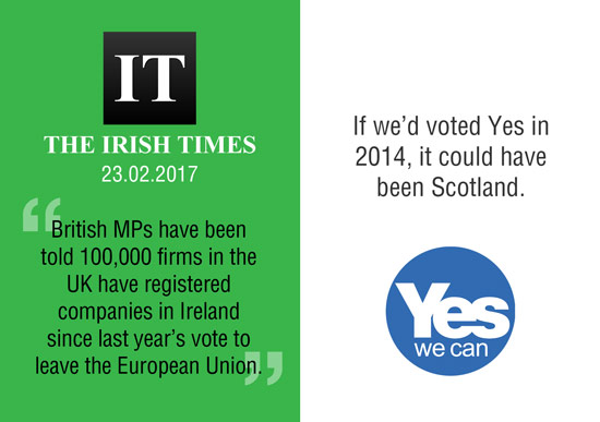 100,000 uk companies register in ireland after brexit vote. it could have been scotland.