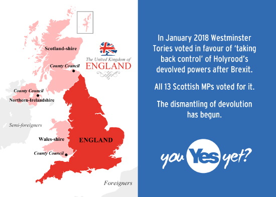 westminster is ;'taking back control' of scotland's devolved powers. the dismantling of devolution has begun.