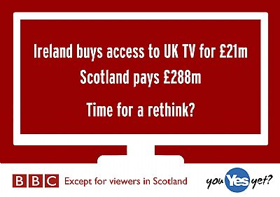 ireland buys acc�s to the bbc for �21m. scotland pays �288m. time to rethink.
