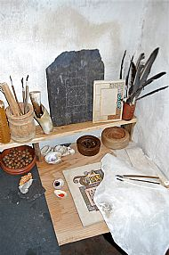 Artist's table in the Scriptorium