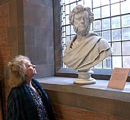 bust of hugh miller in the scottish national portrait gallery, being admired by frieda gostwick
