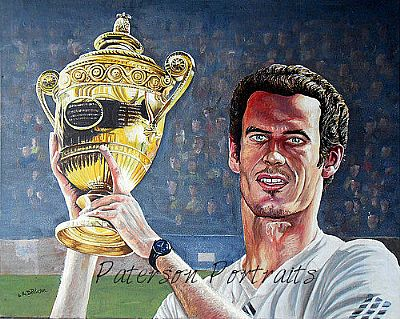 oil portrait of andy murray wining wimbledon