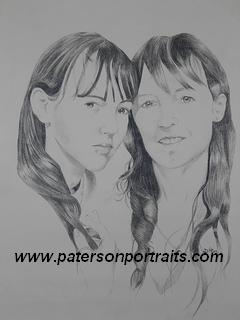 sisiters pencil portrait by david paterson