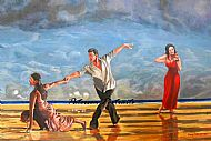beach ballet, painting of dancers on beach by david paterson