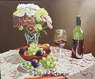 still life flowers and fruit painting by david paterson
