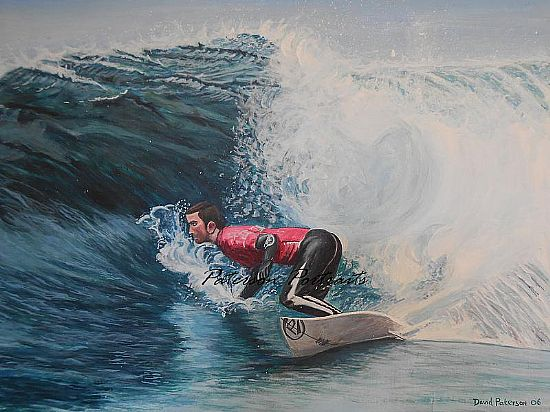 painting of sufer ben bourgeois by david paterson