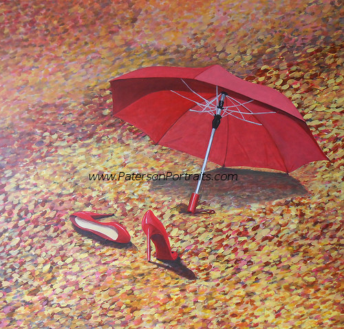 two red shoes painting by david paterson