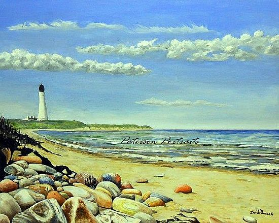 covesea lighthouse oil painting by david paterson