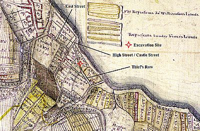 site of excavations superimposed on earliest map of cromary town