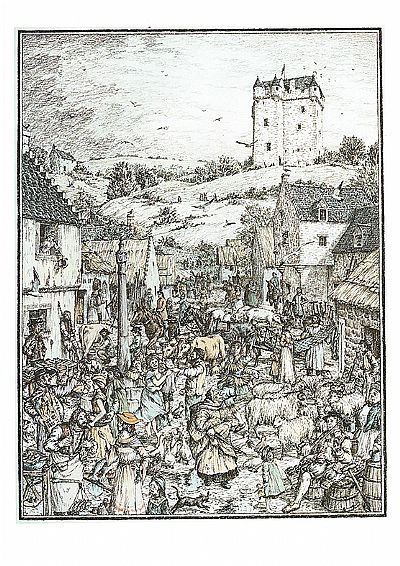 mike taylor's image of medieval cromarty on market day