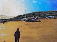 Barmouth Harbour. Pastels.