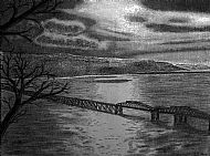 Barmouth Bridge. Charcoal.