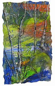 Autumn Birch Trees, Morning, mixed media, 49cm x 39cm, £435
