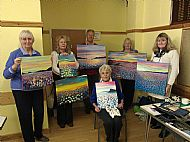 Sheila, Jan, Bryan, Dot, Helen and Irene shoring their paintings from Emma Carter's Workshop