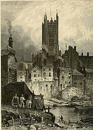 Manchester Cathedral from the River Irwell