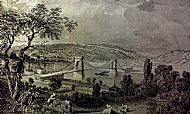 The first Chain Bridge across the Tyne at Blaydon