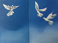 Doves diptych, Oil on canvas, 2x60x100cm