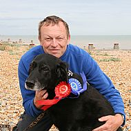 Terry with our most recent dog Rowley,who sadly died in September 2016.