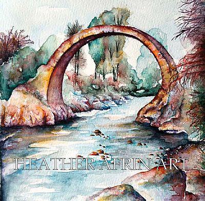 old bridge of carr - carrbridge watercolour
