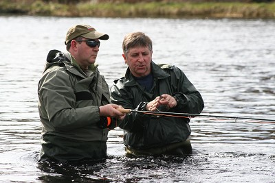 salmon fishing on the river conon, wading