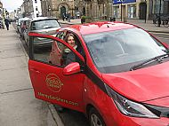 Red Aygo on Forres High Street