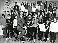 Stuart Greaves sits astride the new mountain bike which was presented to him to mark his retirement from Culbokie Primary School after 16 years service as head teacher in 1998.  Courtesy of Ross-shire Journal.