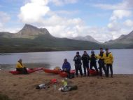 Lunch stop with Stac Pollaidh and Cul Beag as backdrop