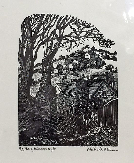 the gatehouse tryst by michael atkin (woodblock engraving)