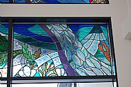 Stained glass window in situ in community hospital