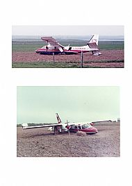 HPA290   Loganair crash, 1st June 1984 Top picture J. Walls, Bottom picture(Orkney Image library: Willie Watters)