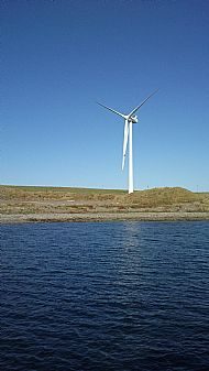 HPA472   Turbine at Loth - the black spot is a  man checking the blades