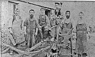 HPA411   Blacksmith's Shop at Nearhouse L - R: John Sinclair (Appiehouse), Jamie Scott, William Leslie (Wheelwright from Westray),  Peter Skea (brother of John Skea), John Fotheringhame (born 1850), John Skea