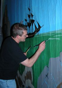 tony painting the backdrop