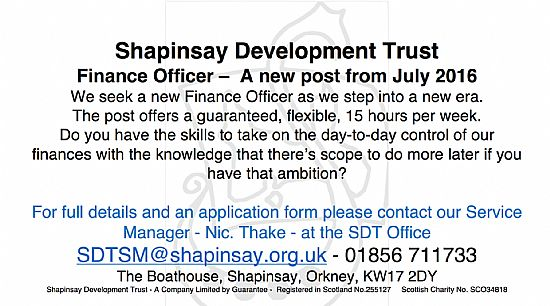 shapinsay development trust - finance officer post - july 2016