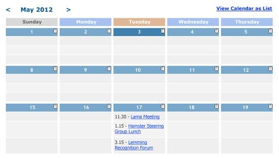 spanglefish calendar - default grid view